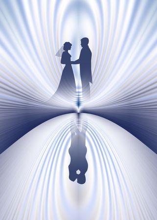 Wedding couple. Reflected . Digital illustration.