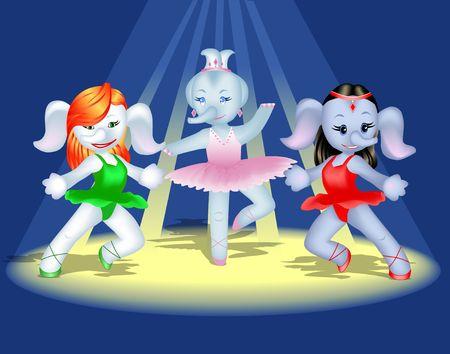 stage costume: Elephant ballet cartoon. Digital illustration. Gradient mesh. Stock Photo