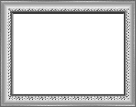 Silver frame with artistic border. Digital illustration from scratch. Contains clipping path. Stock Photo