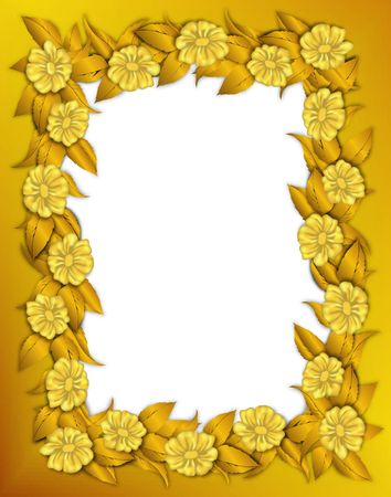 golden texture: Flower frame with clipping path. Digital illistration. Gradient mesh, gradients.