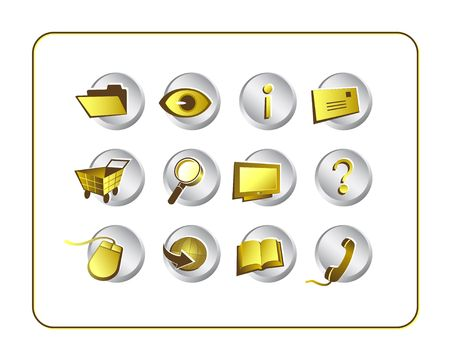 Gold on Silver icon set. Digital illustration from scratch. Clipping paths included.