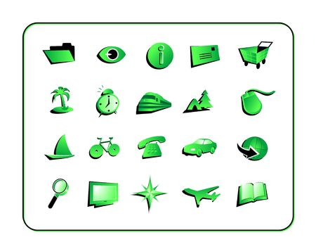 illustrated globe: Green Icon Set. Digital illustration. Contains clipping paths.