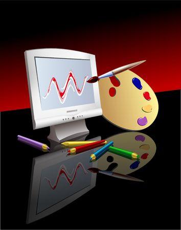 Computer Graphics Symbols. Digital illustration. Gradient Mesh. Blends. Stock Illustration - 561102