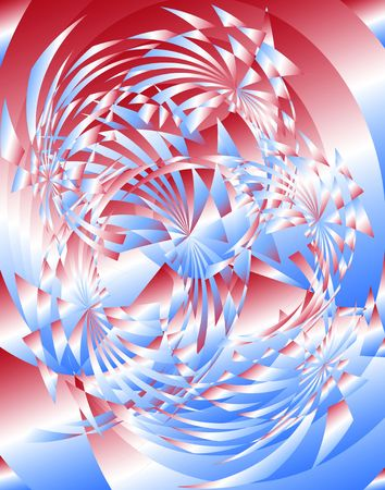 fractals: Abstract Radial Fractals. Red-White-Blue. Digital illustration