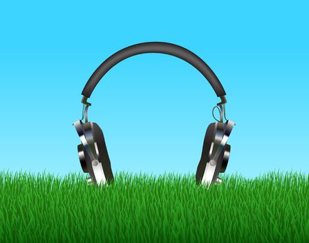 head phones: Head phones in grass. Digital illustration. Multiple techniques.