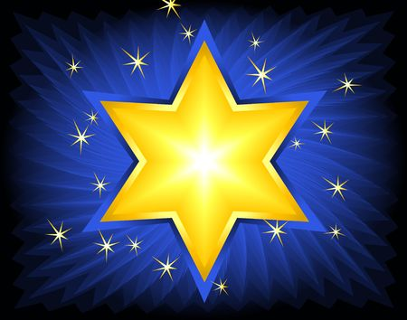 Golden Star of David. Digital illustration. Blends, brushes, gradients. Stock Photo