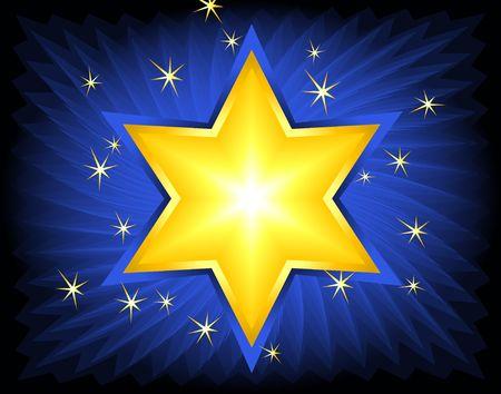 Golden Star of David. Digital illustration. Blends, brushes, gradients. Stock Photo