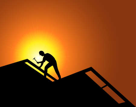 Worker on a new construction. Roofing.