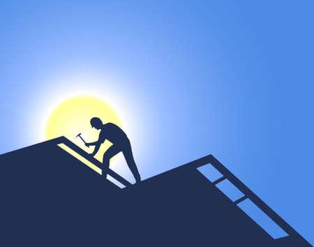Ouvrier sur une nouvelle construction. Roofing.
