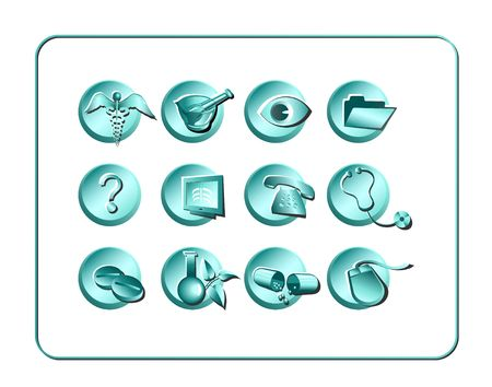 Medical & Pharmacy Icon Set. Digital illustration. Contains clipping path. illustration