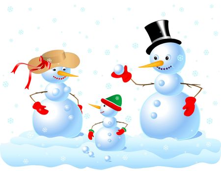 Happy Snowman Family. Digital illustration. Gradients, blends, gradient mesh. Stock Photo