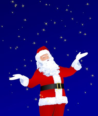 Santa Claus playing with stars. Christmas illustration. Contains clipping path.