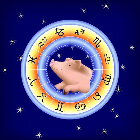 Happy pig in Zodiac Wheel. Digital illustration.