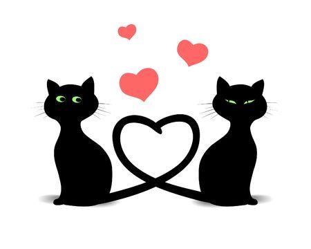 Cat's dans l'amour illustration num�rique. Valentine's Day conception. Contient un masque vectoriel! Banque d'images