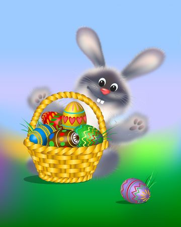 Easter Bunny with colored eggs in the basket. 3-d digital illustration.