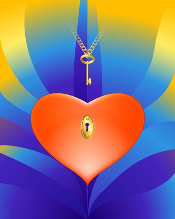 intrigue: Heart With a Key 3-d illustration. Designed for Valentines Day.