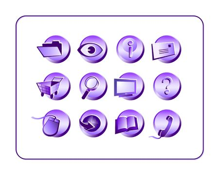 Purple miscellaneous icon set. Digital illustration from scratch.  illustration