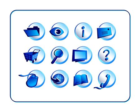 Bright Icon set. Digital illustration from scratch. Stock Photo
