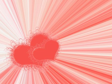 computer generated  frame with two red hearts on color background Stock Photo - 897227