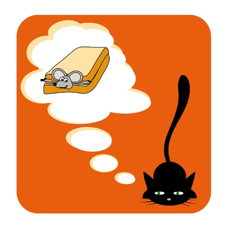 vector illustration of cat's dream Stock Vector - 3409837