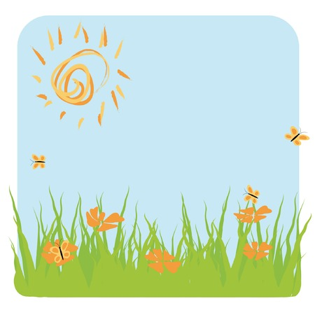 vector illustration of summer landscape with grass, sun, butterfly Stock Vector - 3409841