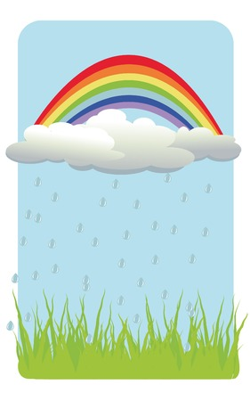vector  background with rainbow, cloud, rain, grass Vector