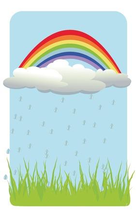 vector  background with rainbow, cloud, rain, grass Vector