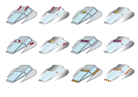 vector set of twelve fly cars Vector