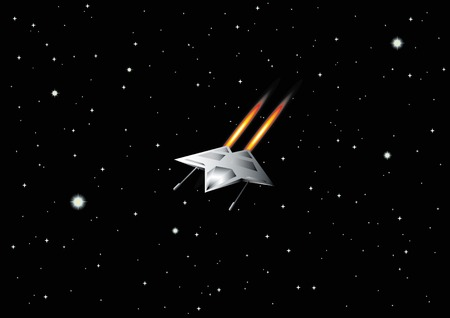 the destroyer: vector illustration of space ship