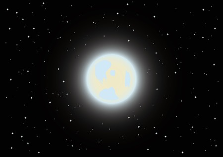 vector full moon in the night sky