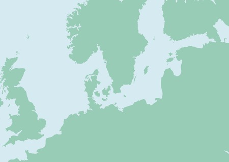 eire: vector Map of North Europe with Baltic sea Illustration