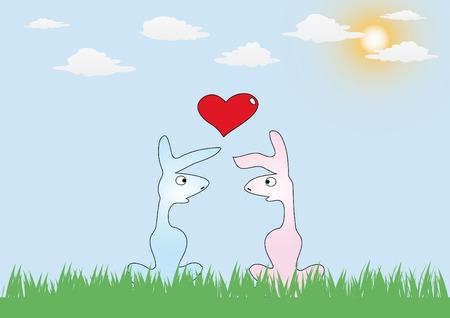 vector romance card with two rabbits in love Vector
