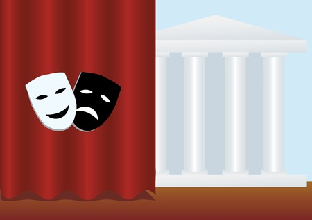 portiere: vector illustration of theatre card with two masks