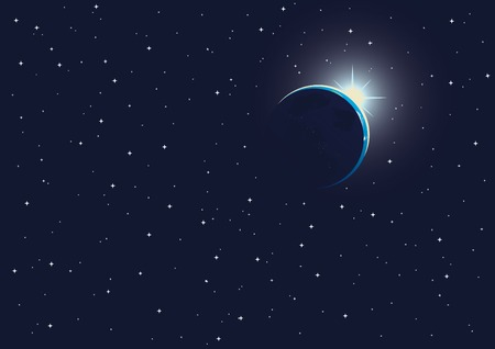 vector illustration of sunrise in the space Vector