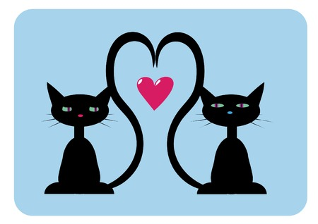 vector illustration of two black cats in love Vector