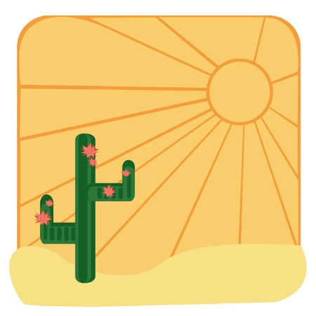 color background with desert, cactus, sun, sand Vector