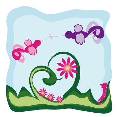 fib: vector cartoon background with two fairy birds in love