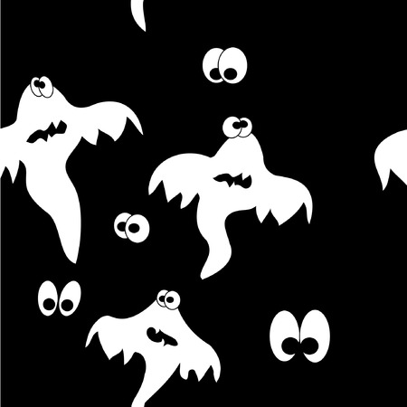 vector seamless pattern with terrible ghosts Vector
