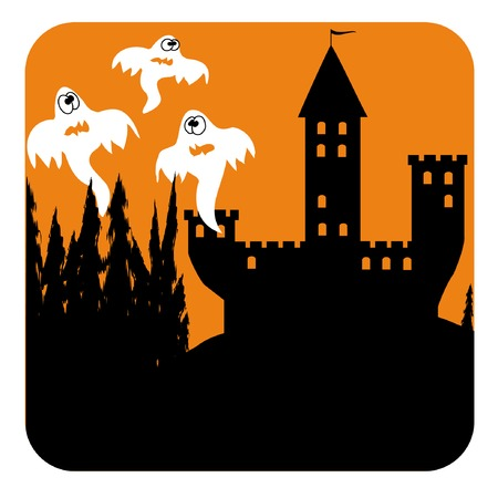 vector halloween background with tree funny ghosts in the castle  Vector
