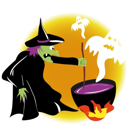 witchcraft: vector witch is practising witchcraft with ghosts Illustration