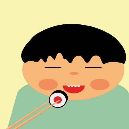 illustration of happy japanese eating roll Vector