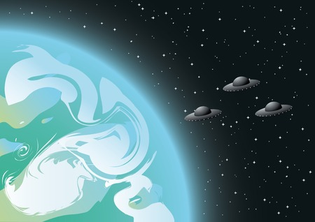 vector illustration of aliens in orbit  Vector
