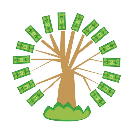 vector tree with leaves of bank notes Vector
