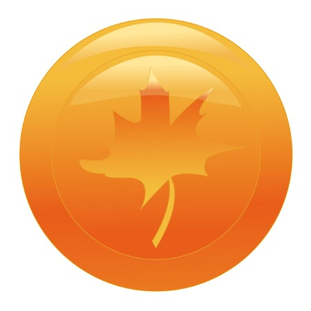 orange web button with maple leaf on white background Vector
