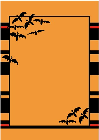 terribly: halloween striped frame with bats Illustration