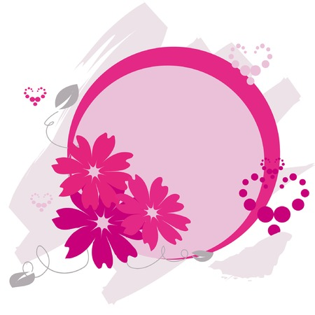 circle frame with flowers and hearts Vector