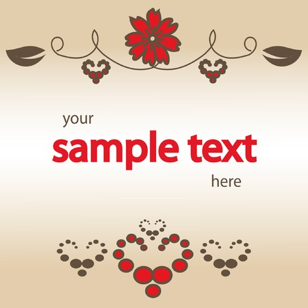 vector blank with red flower and hearts Vector