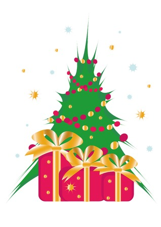 Christmas tree with fancy boxes. You can find similar images in my gallery! Vector