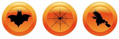 Halloween icons 1 (bat, web, witch). Vector illustration. You can find similar images in my gallery! Vector