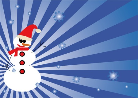 Winter background with cartoon snowman.  You can find similar images in my gallery!
